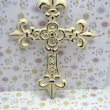 Fleur de lis Cross Wall Decor Off White Cream Distressed Shabby Chic French Paris Ornate Decoration Cast Iron