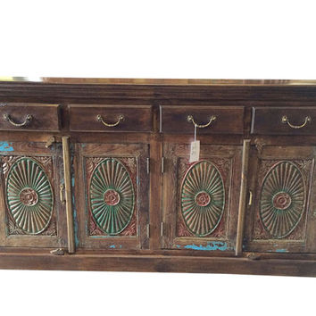 Vintage Decor indian Furniture Shabby Chic Brown Chest Chakra Sideboard Buffets dresser