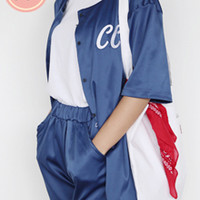Snap Button Lettering Top and Shorts Set