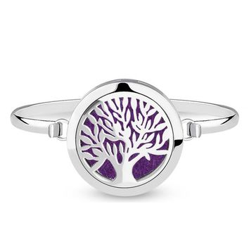 Tree of Life Bangle Bracelet Diffuser for Essential Oils - Stainless Steel