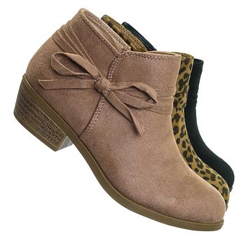 Dance2 Children Ankle Boots w Bow - Kids Girls Booties