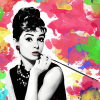 Audrey Hepburn illustration Poster Print black and white, breakfast at tiffany's, tiffany, art, modern , pop art, watercolor, colorful art