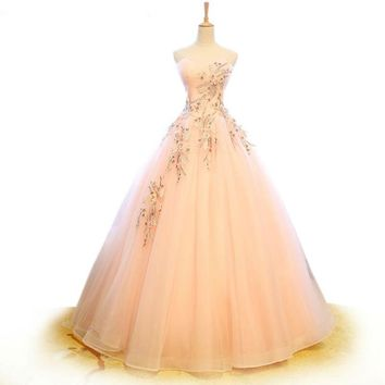 Sweet Pink Tulle Bridal Gown Custom Made Applique Wedding Gown Crystal Beaded Sleeveless Strapless Ball Gowns