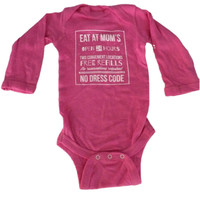 Eat At Mom's Baby Long Sleeve Onesuit {Raspberry}