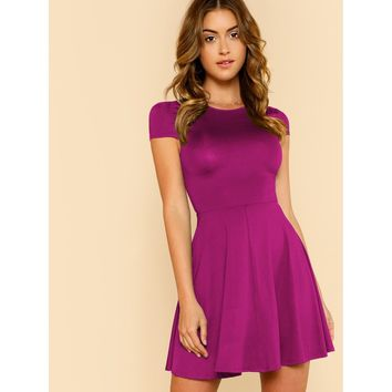 Purple Round Neck Cap Sleeve Party Dress