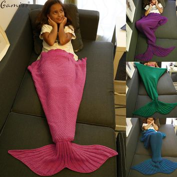 Gamiss Mermaid Tail Blanket Knitted Autumn Winter Children Gift Warm Handmade Crochet Mermaid Throw Bed Wrap Sofa Sleeping B