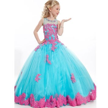 2015 Flower Girl Dresses Cute Ball Gowns Pageant Dresses for Girls Glitz Color Lace Appliques And Beads kids prom dresses