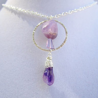 Amethyst Stone & Wire Wrapped Amethyst Nugget with a Hammered Silver Ring Long Boho Silver Layering Necklace