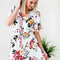 Happy Place Tie Front Floral Dress