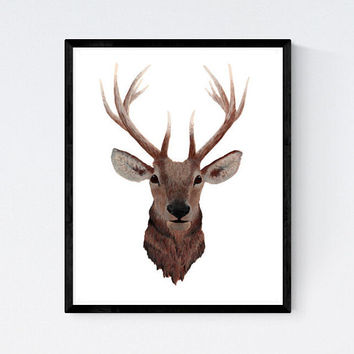 Elk Art Print, deer art print, deer poster, deer painting, elk art, nursery wall art, woodland nursery, father's day gift, forest animal art