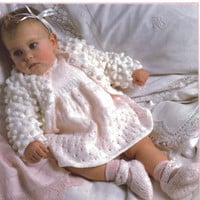 Baby cardigan, Dress, Shoes Knitting Pattern. Double knitting, To fit size 18 -20 inches. PDF instant download.