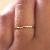Gold Stack RIng,14k Gold Filled Stacking Ring, Gold Band Ring, Hammered Gold Ring, Minimalist Jewelry