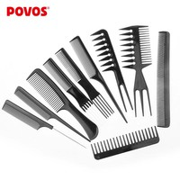 POVOS 10pcs/set Professional Salon Combs Set Black Plastic Barbers Hair Styling Tools Hairdressing Salon Free Shipping