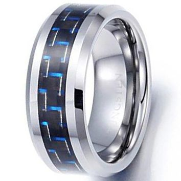 CERTIFIED 8mm Tungsten Carbide Ring Black Blue Carbon Fiber Vintage Wedding Engagement Promise Band