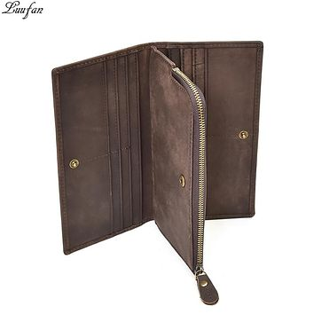 New Classical Genuine Leather Wallets Vintage Style Men long clutch wallets Casual Card Holder zipper pocket coin purse