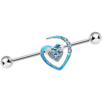 Aqua Gem Heart to Heart Industrial Barbell | Body Candy Body Jewelry