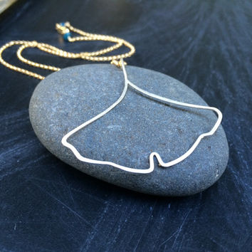 Hammered Sterling Silver Ginkgo Leaf Necklace Gold and Silver Mixed Metal Jewelry Botanical Inspired Handmade Pendant