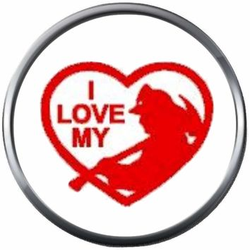 I Love My Firefighter Axe Heart Thin Red Line Courage Under Fire 18MM-20MM Snap Charm Jewelry New Item