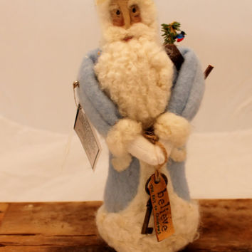 Santa, Needle Felted Hand dyed, Needle Felted, Light Blue Wool Santa