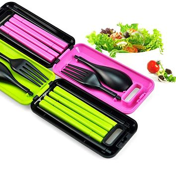 New Folding Travel Dinnerware Set Tableware Cutlery Set For Kids Bento Lunch Accessories J2Y