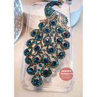 Blue peacock phone cover Transparent phone case for iPhone4 and iPhone 4S