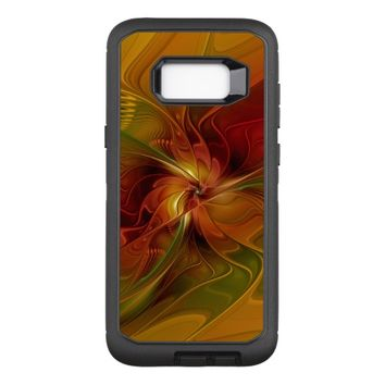 Abstract Red Orange Brown Green Fractal Art Flower OtterBox Defender Samsung Galaxy S8+ Case