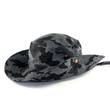 Men And Women Outdoor Jungle Bucket Hat Outdoor Fishing Hunting Wide Boonie Cap Sun Protection