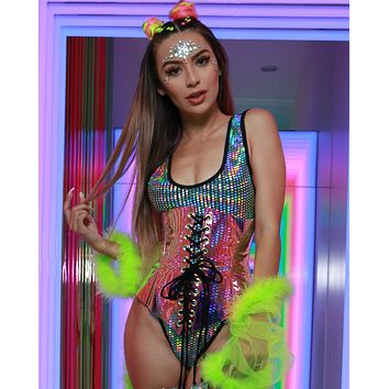 Galactic Prism Baywatch High Cut Rave Bodysuit