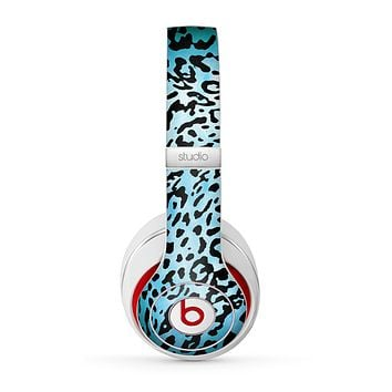 The Hot Teal Cheetah Animal Print Skin for the Beats by Dre Studio (2013+ Version) Headphones