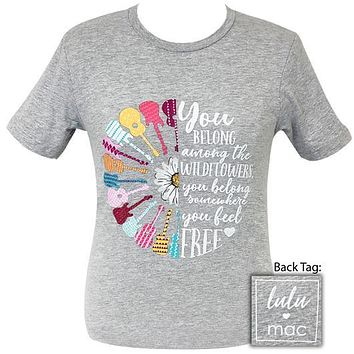 Girlie Girl Originals Lulu Mac Preppy Guitars And Wildflowers T-Shirt