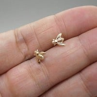 Tiny Gold Brass Bee Studs Earrings with Sterling Silver Posts
