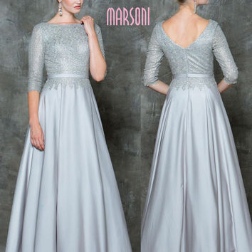MARSONI M182 Dazzling Half Sleeve Mother of Bride Evening Dress