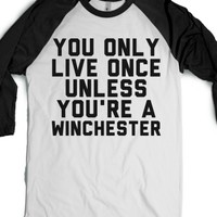 Winchesters Live More Than Once-Unisex White/Black T-Shirt