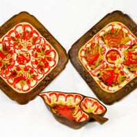 Vintage Treasure Craft Orange 3 Piece Pottery Serving Set - Two Square Divided Trays, Divided Leaf Tray
