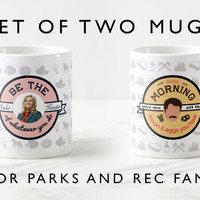 Parks and Recreation Be the Leslie Knope of whatever you do mug, Ron Swanson Bacon and eggs mug