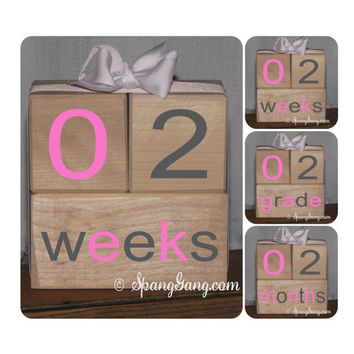 Pregnancy/Baby announcement. Photography Prop. Baby shower gift. Monthly milestones. Baby Shower. Gender Reveal. Milestone Blocks.Grey Pink