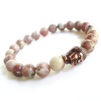 Buddha Mala Bracelet Spiritual Meditation Postive Energy Buddhism Peachy Jade Unique Gift For Her Under 50 Item X21