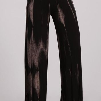 Black and Taupe Tie Dye Palazzo