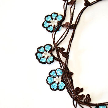 Turquoise Flowers Brown Crochet Oya Necklace Wrap Jewelry Beaded Lariat Jewellery, Beadwork, Crochet ReddApple, Gift Ideas for Her