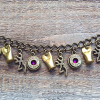 Hunting bracelet with bullet casings and browning charms