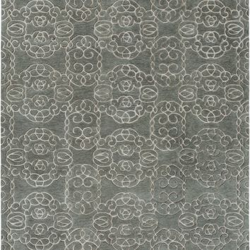Surya Vernier Medallions and Damask Green VRN-1001 Area Rug