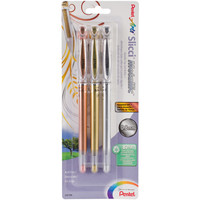 Pentel Slicci Metallic Gel Pens .8mm 3/Pkg-Gold, Silver & Bronze