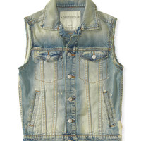 Aeropostale Mens Light Wash Bleached Denim Vest - Blue,