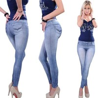 Popular One size Stretchy Jean look Fashion legging for women sexy Leggins Slimming Leggings = 5709423425