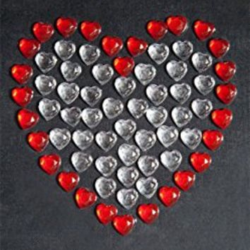 CraftbuddyUS 70 X 8mm Self Adhesive Diamante Stick on Hearts Gems Red Love Craft
