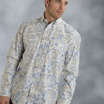 Roper Mens 8767 Scatter Paisley Amarillo Denim Blues Long Sleeve Shirt Button Closure - 2 Pocket