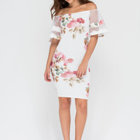 Floral Story Bell Sleeve Midi Dress