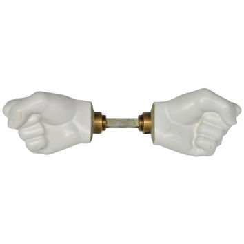 Rare Porcelain Fist Door Knobs