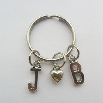 1 Initial boyfriend or girlfriend silver tone keychain with heart (pick your own letters)