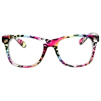 Multicolored Animal Print Fashion Clear Lens Horn Rimmed Style Glasses Eyewear